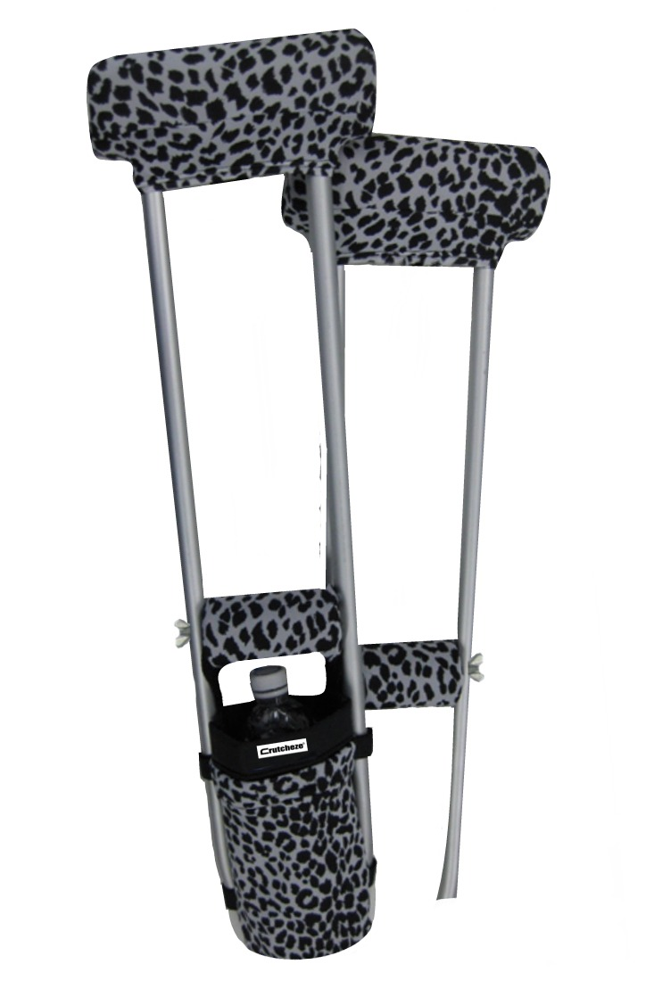 COMBO DEAL - BLACK LEOPARD PADDED CRUTCH COVERS & BAG SET