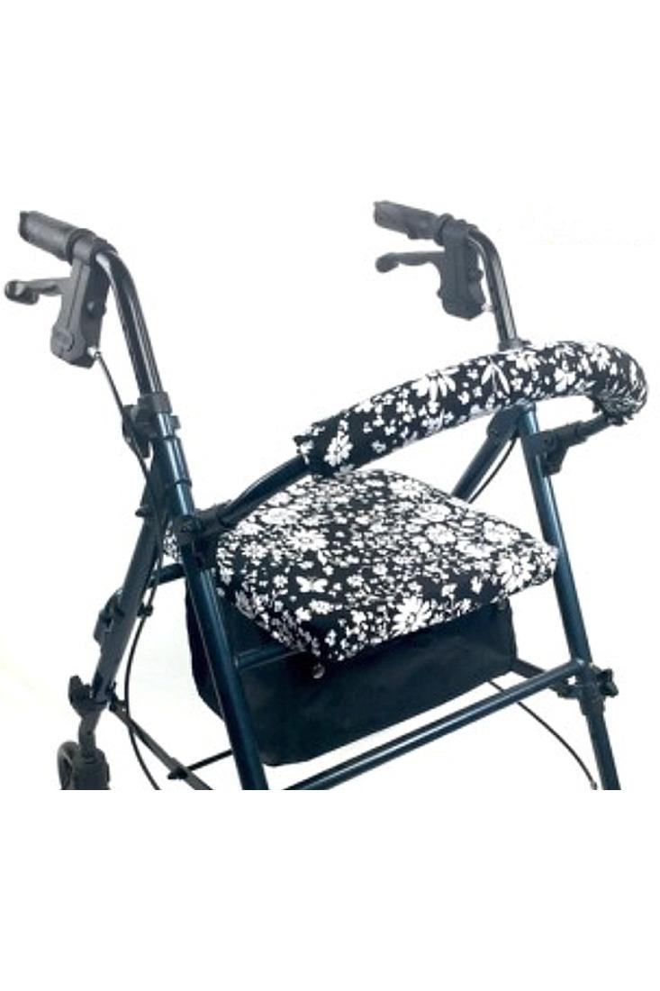 ROLLATOR WALKER COVERS - BLACK AND WHITE FLORAL
