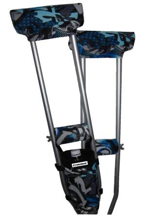 COMBO DEAL - BLUE GRAFFITI TATTOO PADDED CRUTCH COVERS & BAG SET