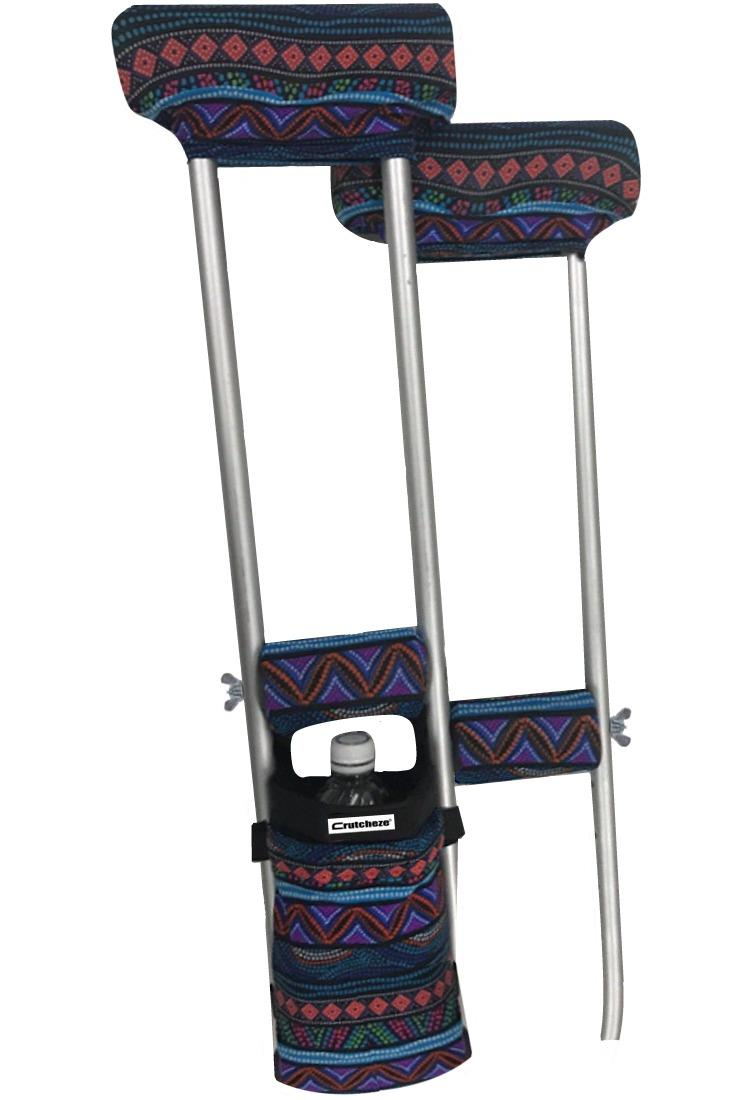 COMBO DEAL - BLUE NATIVE PADDED CRUTCH COVERS & BAG SET