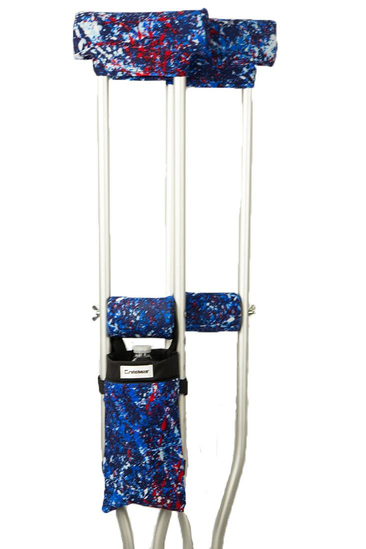 COMBO DEAL - BLUE PAINTBALL PADDED CRUTCH COVERS & BAG SET