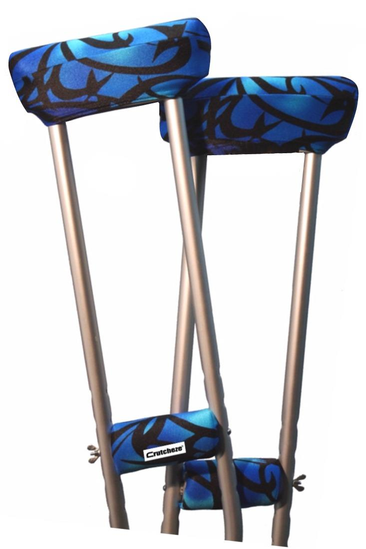 CRUTCH PADDED COVERS - BLUE TRIBAL TATTOO