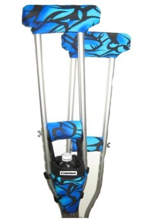 COMBO DEAL - BLUE TRIBAL TATTOO PADDED CRUTCH COVERS & BAG SET