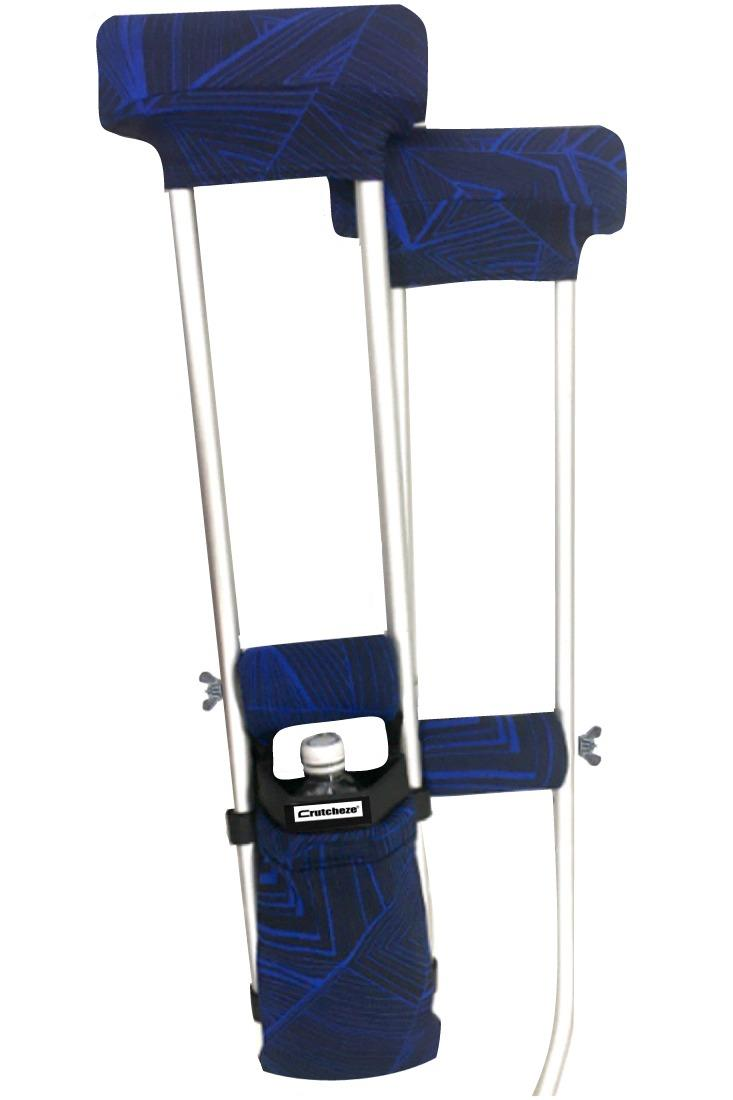 COMBO DEAL - BLUE VORTEX PADDED CRUTCH COVERS & BAG SET