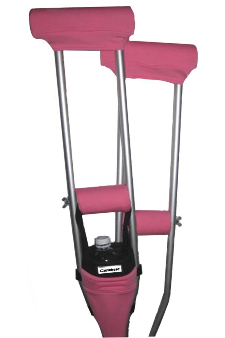 COMBO DEAL - BUBBLEGUM PINK  PADDED CRUTCH COVERS & BAG SET