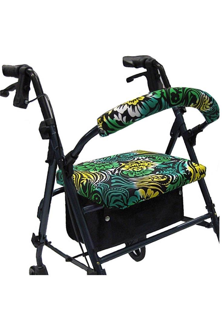 ROLLATOR WALKER COVERS - GREEN PAISLEY FLORAL