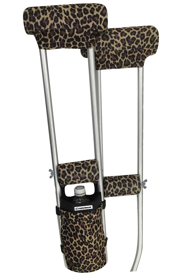 COMBO DEAL - LEOPARD PADDED CRUTCH COVERS & BAG SET
