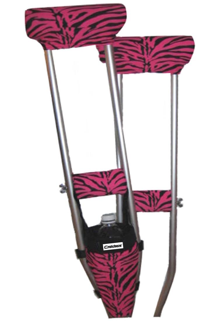 COMBO DEAL - PINK ZEBRA PADDED CRUTCH COVERS & BAG SET