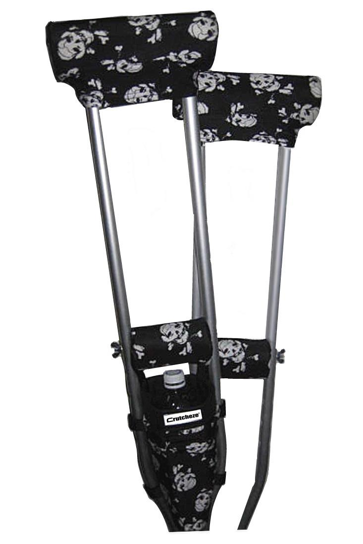 COMBO DEAL - PIRATE FLAG SKULLS PADDED CRUTCH COVERS & BAG SET