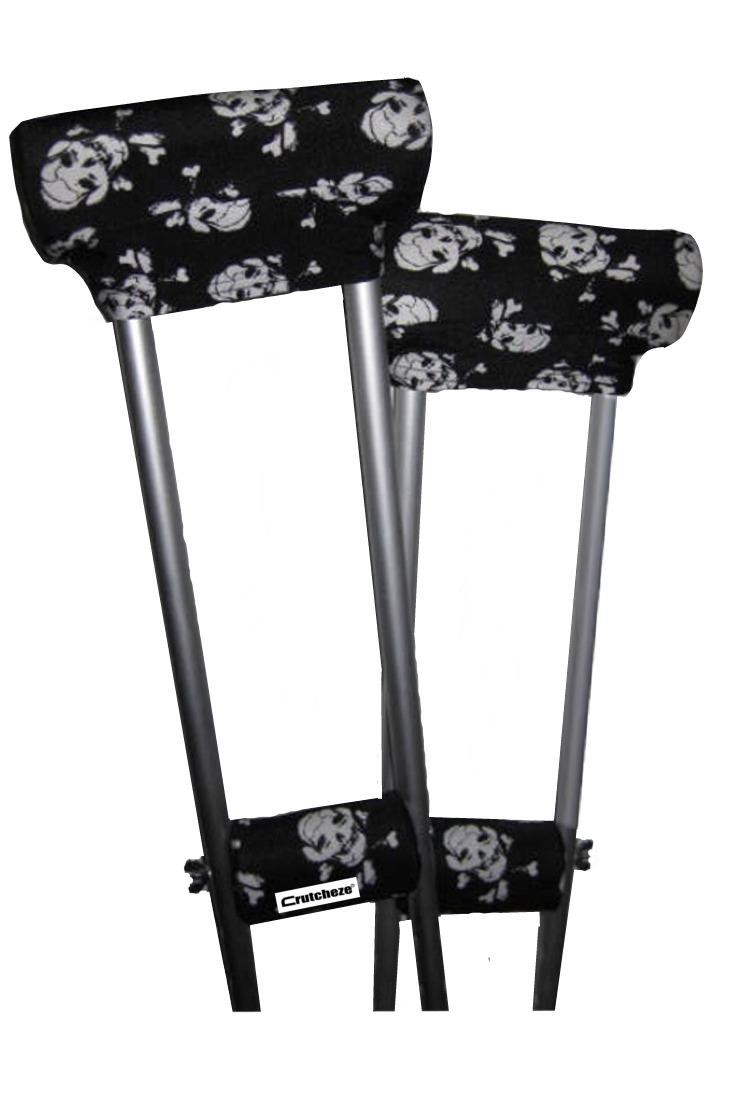 CRUTCH PADDED COVERS - PIRATE FLAG SKULLS