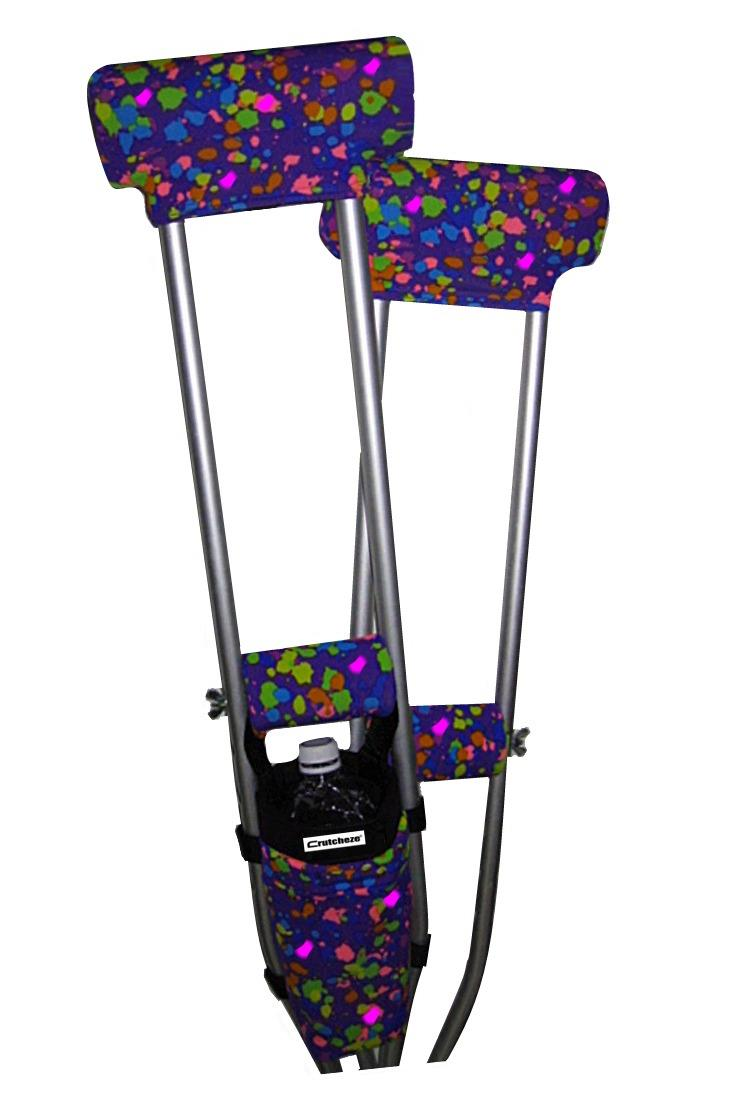 COMBO DEAL - PURPLE SPLATTER PADDED CRUTCH COVERS & BAG SET