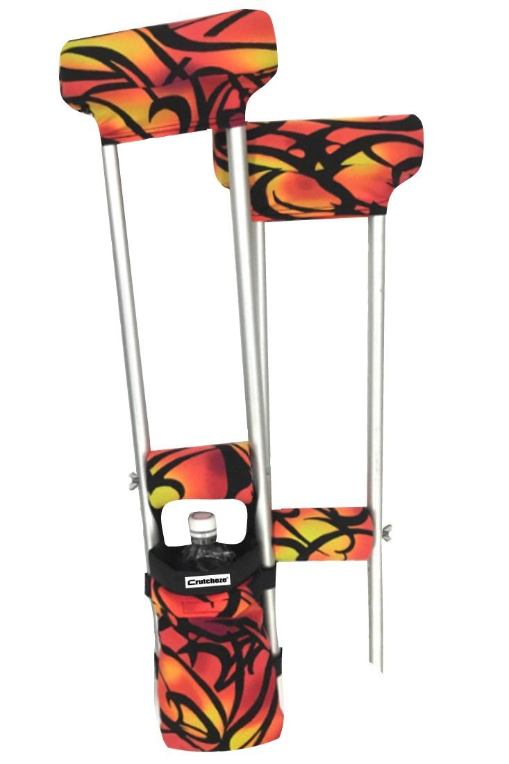 COMBO DEAL - RED TRIBAL TATTOO PADDED CRUTCH COVERS & BAG SET