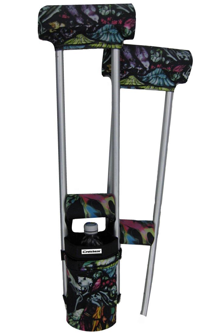 COMBO DEAL - STAINED GLASS PADDED CRUTCH COVERS & BAG  SET