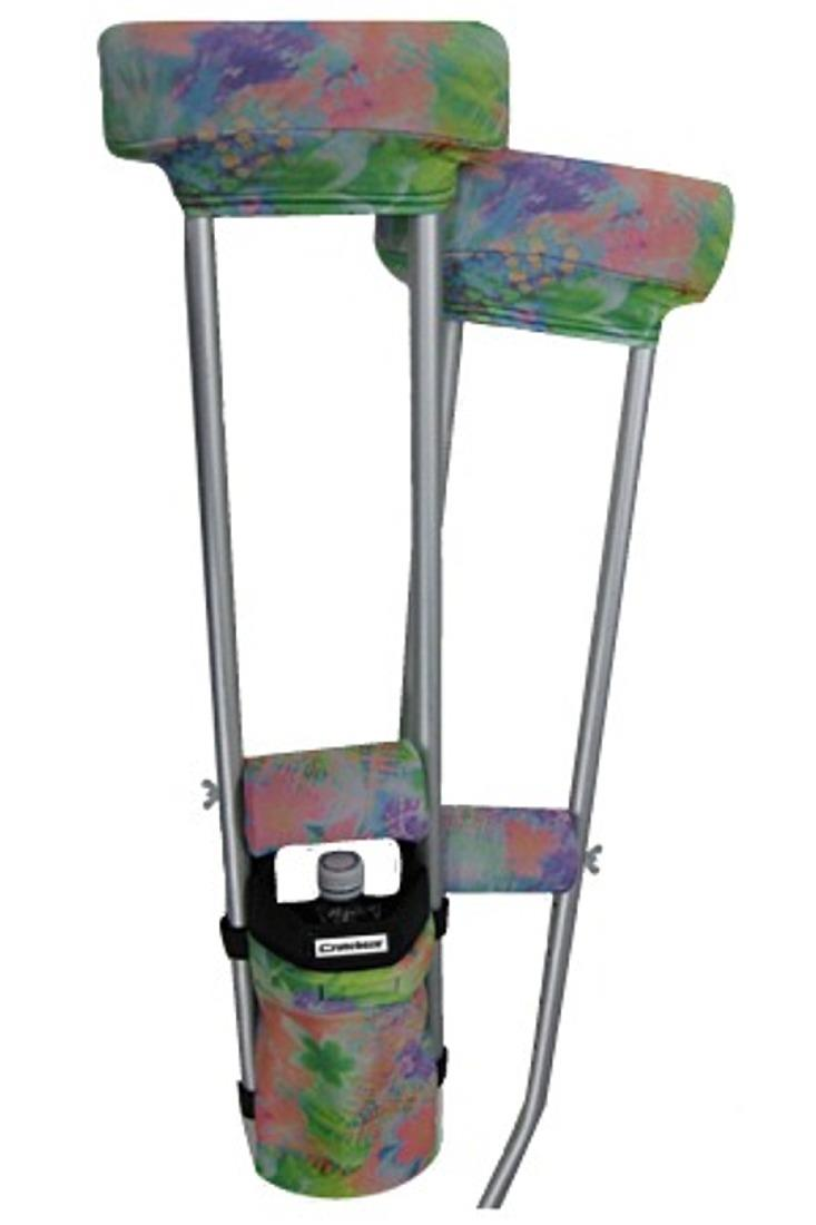 COMBO DEAL - TIE DYE FLORAL PADDED CRUTCH COVERS & BAG SET
