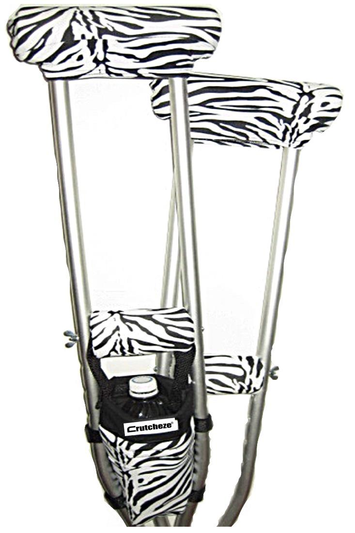 COMBO DEAL - ZEBRA PADDED CRUTCH COVERS & BAG SET